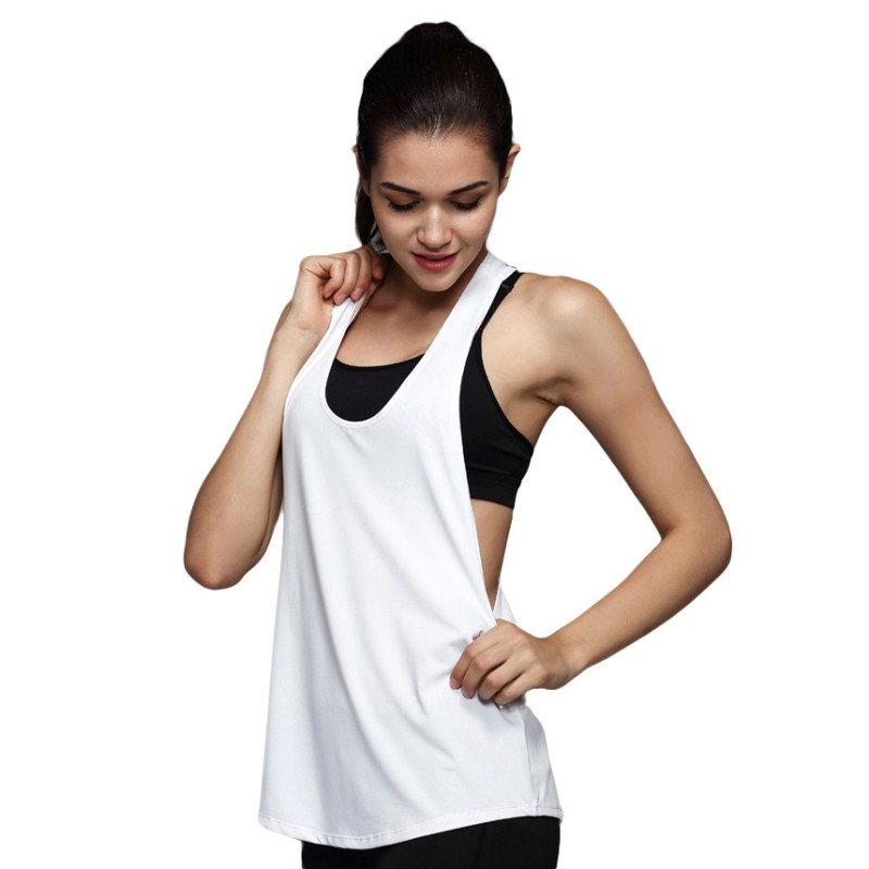Summer Women Tank Tops Dry Quick Yoga Shirts Loose Gym Fitness Sport Sleeveless Vest Singlet Training Running Newest