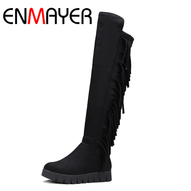 ФОТО ENMAYER Low Heels Wedges Shoes Woman Slip-on Knee-high Boots for Women Round Toe Winter Warm Boots Tassels Charms Platform Shoes