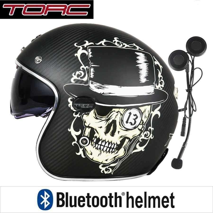 Frete grátis 1 conjunto 3/4 aberto rosto moto scooter fone de ouvido bluetooth capacete sol viso dot cafe racer retro vintage capacete da motocicleta
