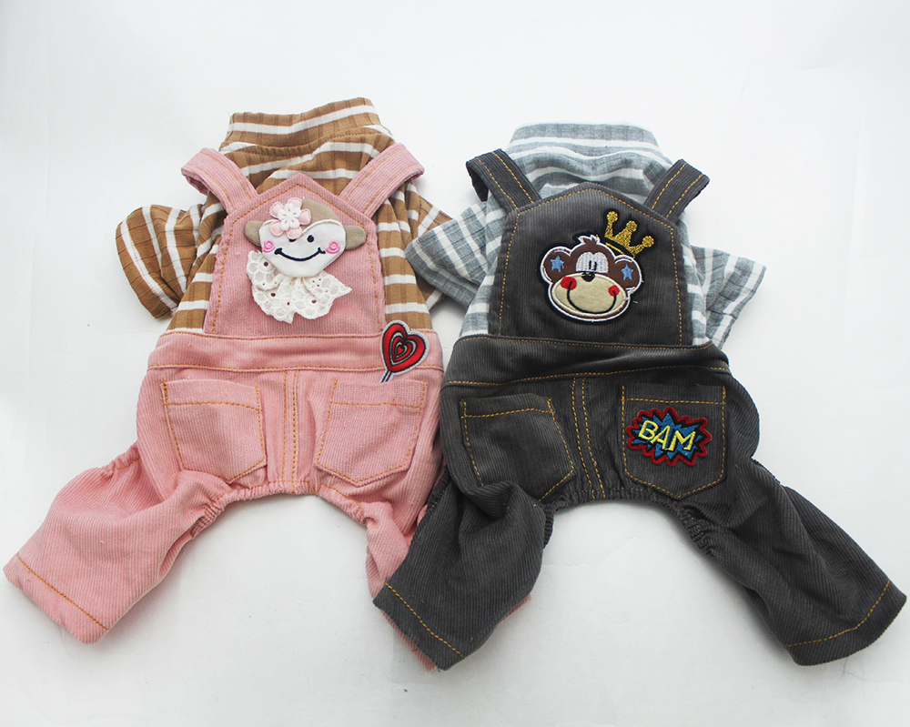 Dog Jumpsuit Pet Dress Striped & Monkey Cat Puppy Rompers Shirt Bukser Spring Tøj Apperal