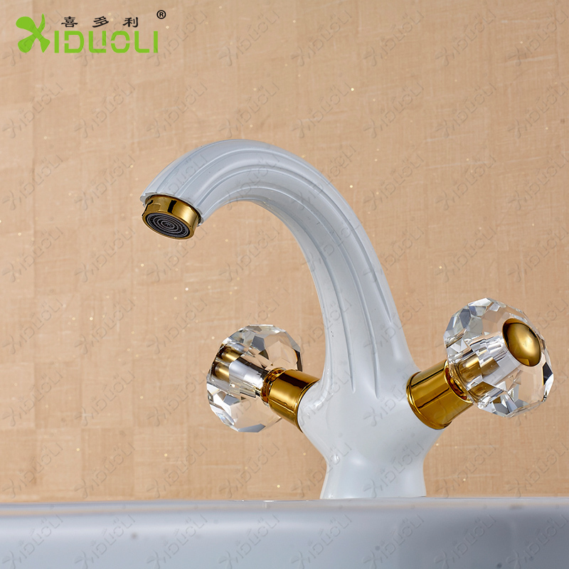 2018 Dual Holder Wall Mount Kitchen Faucet Kitchen Brass: NEW Baked White Paint Solid Brass Copper Hot Cold Wall
