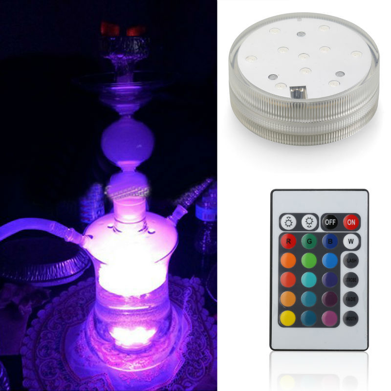 1pcs Wedding Party Decoration Under Water Light With Remote Controlled RGB Waterproof For Shisha Hookah Light Base