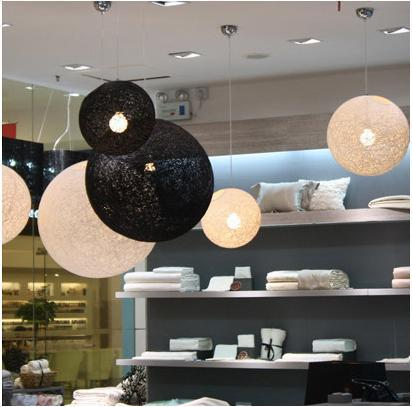 white, Black, Flaxen (with black wire) 30cm rattan pendant light globe-shaped Pendant lamp drop light bedroom foyer lighting black