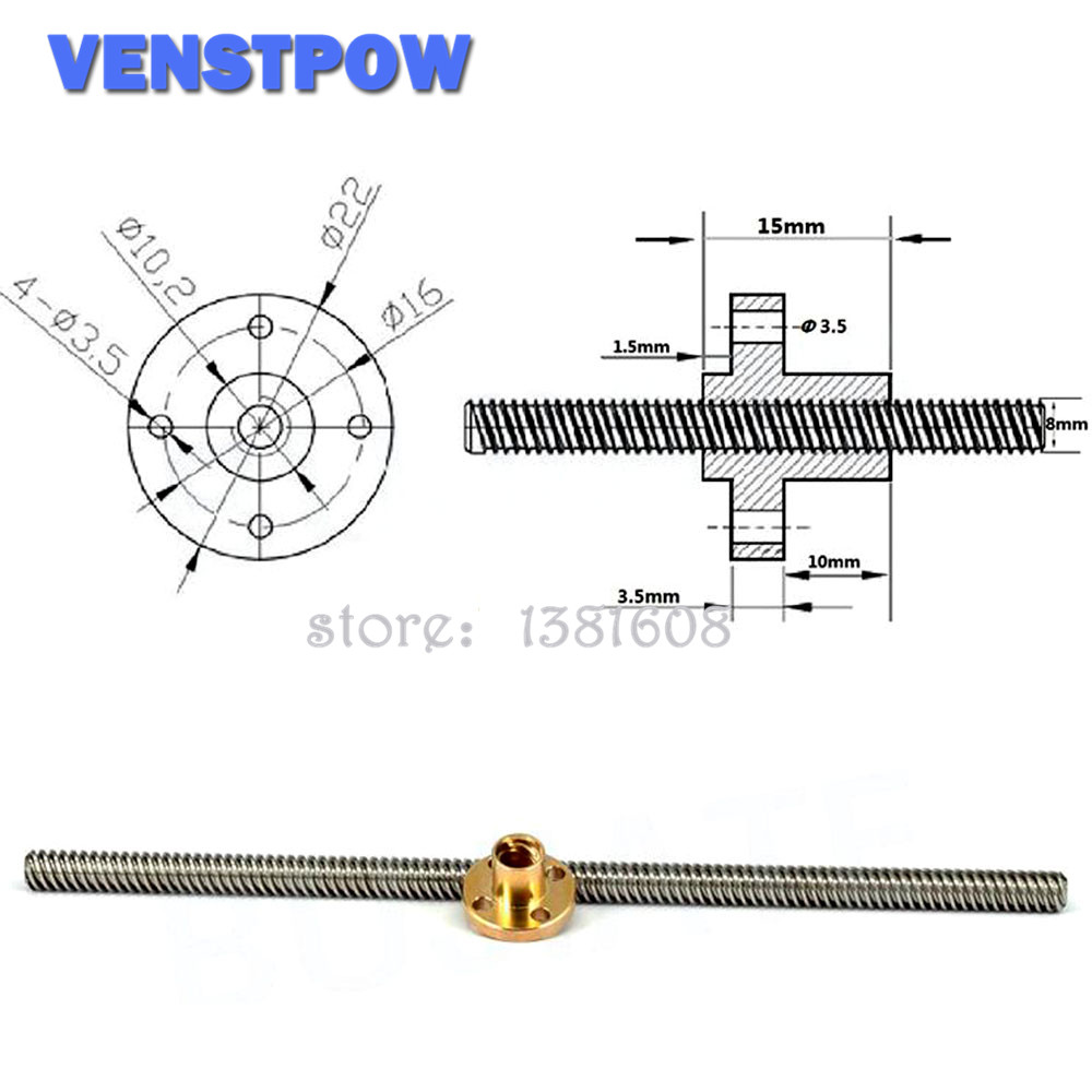 1 Набор длина от 100 до 800 Шаг 1 мм свинец 1 мм T8 руководство с анти-люфт пружинная гайка для CNC 3D принтера