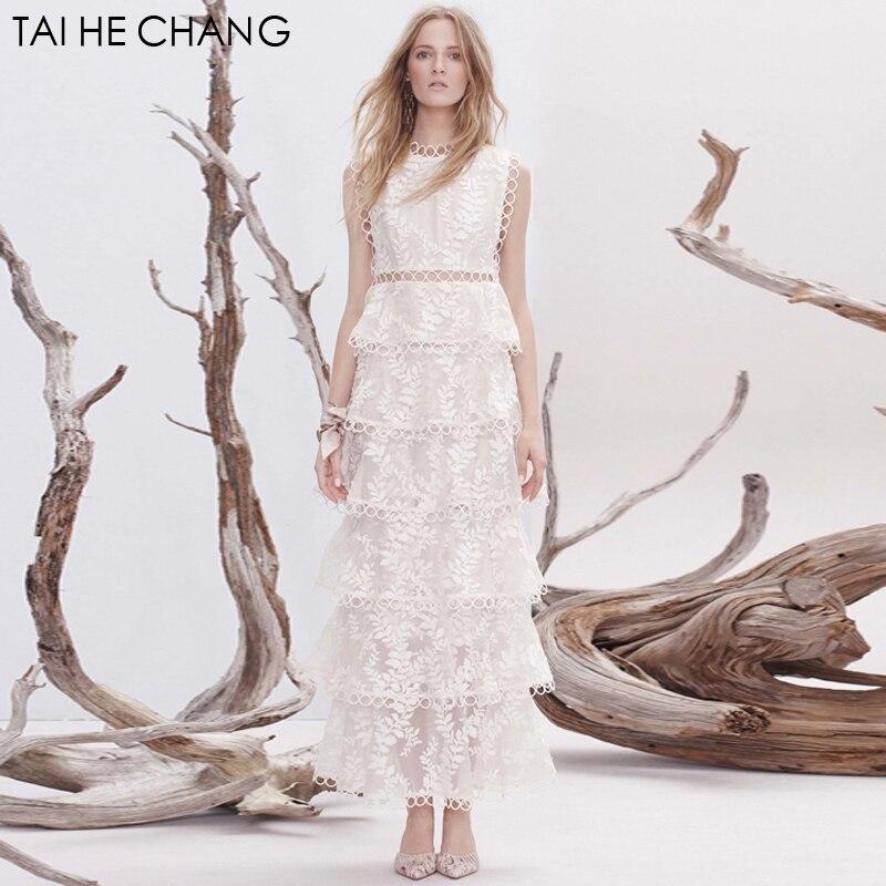 2018 women high-end fashion designer elegant vestidos bodycon slim party white runway summer lace sexy long maxi dress 288290