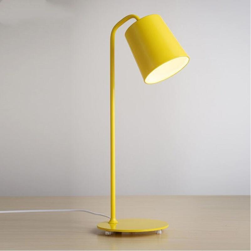Современный H55cm коленом из кованого железа желтый железный Настольный светильник настольные лампы для спальни e27 светодиодная лампа для прикроватной учебы комнаты, офиса, Белый/Черный настольные лампы - 6