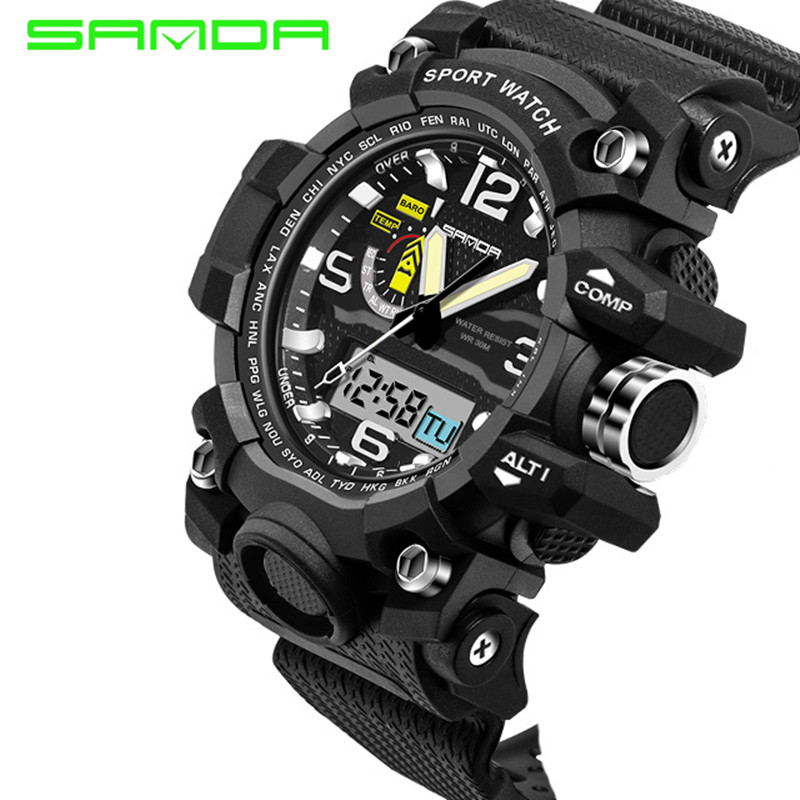 2017 New SANDA Men's Watch Men Waterproof Sports Digital Watches S-Shock Army Military Sport Watch Relogio Masculino sanda date alarm men s army infantry waterproof led digital sports watch gray rubber
