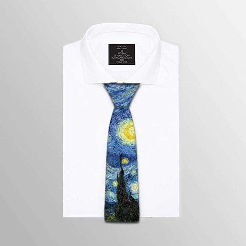 8cm Oil Painting Neckties Fashion Vintage Soft Novelty Tie Classic Starry Sky Gentlemen Ties For Men Wedding Accessories 5ZJQ1