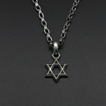 Wu Yifan The Necklace Male Long Sweater Chain Thai Silver Pendant Sterling Silver Hexagram Pendant
