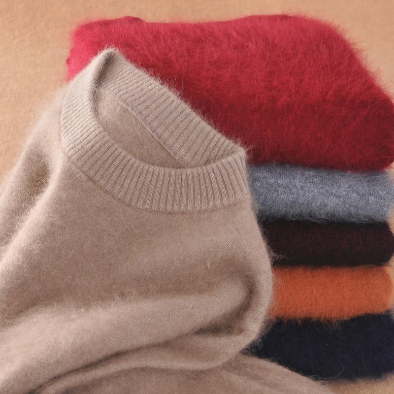 2019 Men's Fluffy Mink Cashmere Sweaters Winter Autumn Men O-Neck Long Sleeve Pullovers Soft Warm Knitwear Jersey
