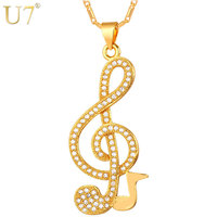 U7 Luxury Women Musical Jewelry Pendant Necklace New Trendy Platinum 18K Gold Plated Zirconia Music Note