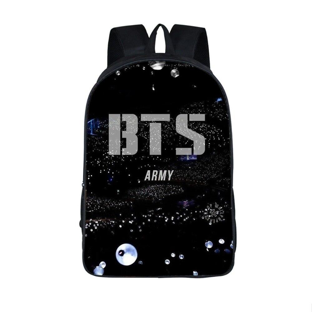где купить Teenagers BTS Backpack for Hip Hop Girls Boys Schoolbag Male mochila Suga Children bookbag EXO Daily Laptop Backpack Kpop cheap дешево