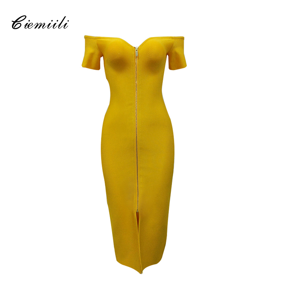 CIEMIILI 2018 Musim Panas Wanita Sexy Off Shoulder Strapless Perban Gaun Elegan Depan Zipper Berpisah Evening Party Dress Lengan Pendek