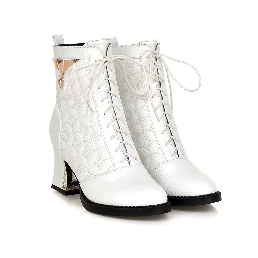 f34cb43cef0 US $56.5 |New Fashion Women Combat Boots White Black Pink Silver Lady Ankle  Riding Shoes Lace High Heels AY902 1 Plus Big Size 12 43 48-in Ankle Boots  ...