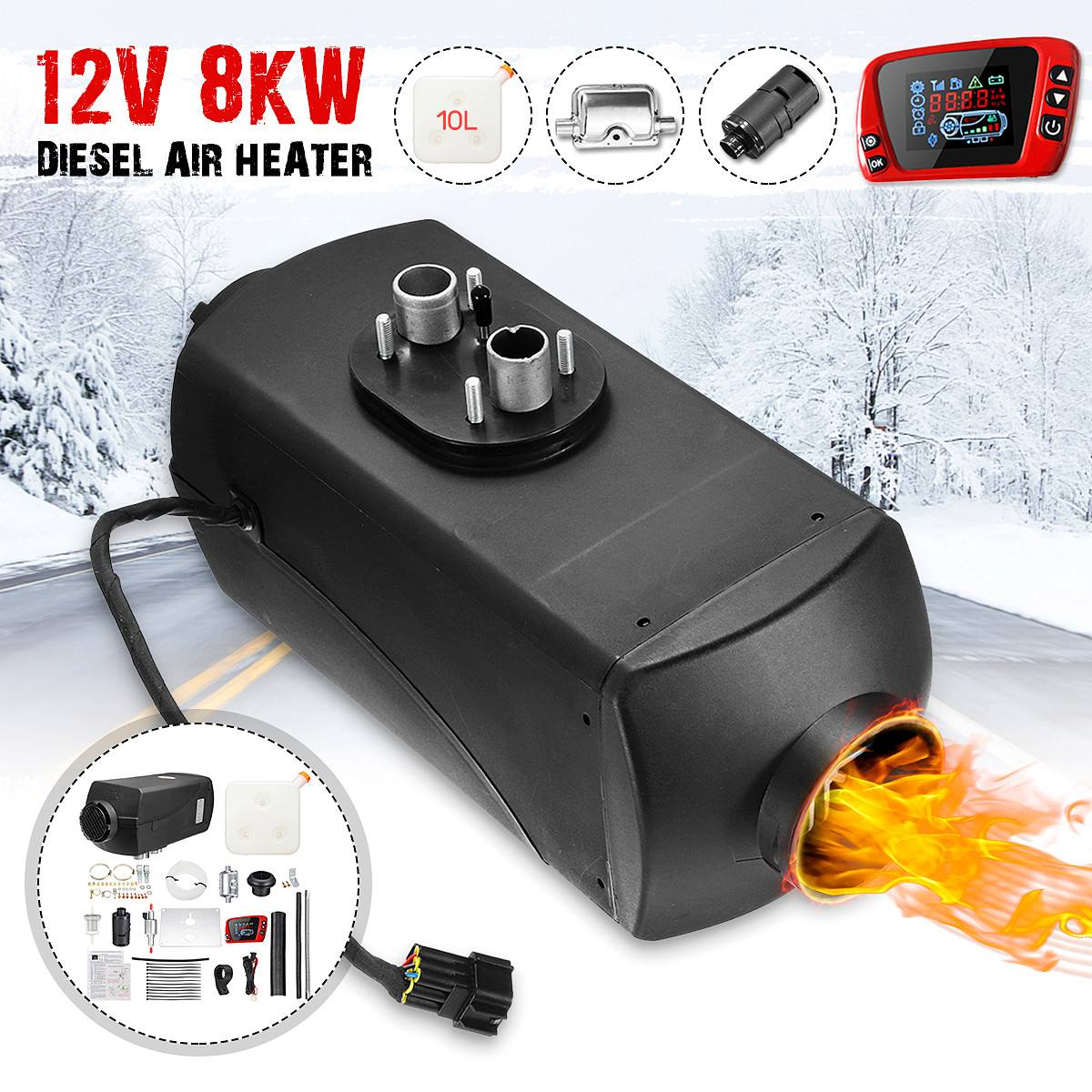 LCD Switch 10L Tank Air diesel Heater For Car Truck Bus 8000W 8KW 12V Silencer