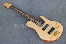 Custom 5 Strings Nature wood, One piece Neck, Chinese fodera electric bass guitar
