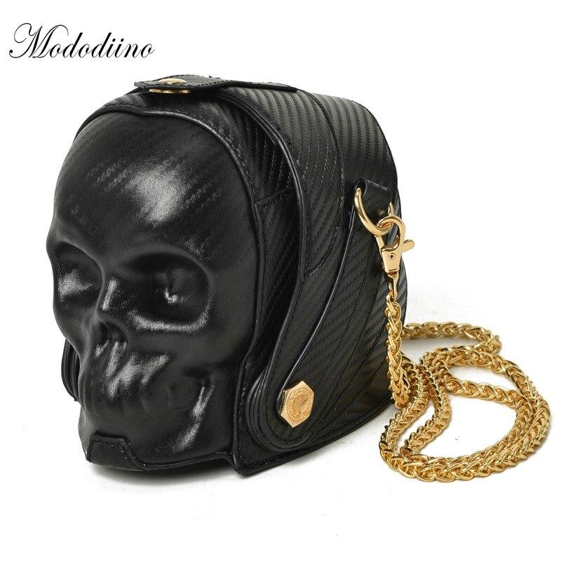 Mododiino nouveau femmes sac à main drôle squelette tête noir sac à main or unique sac à bandoulière Designer de mode sacoche crâne BagDNV0747