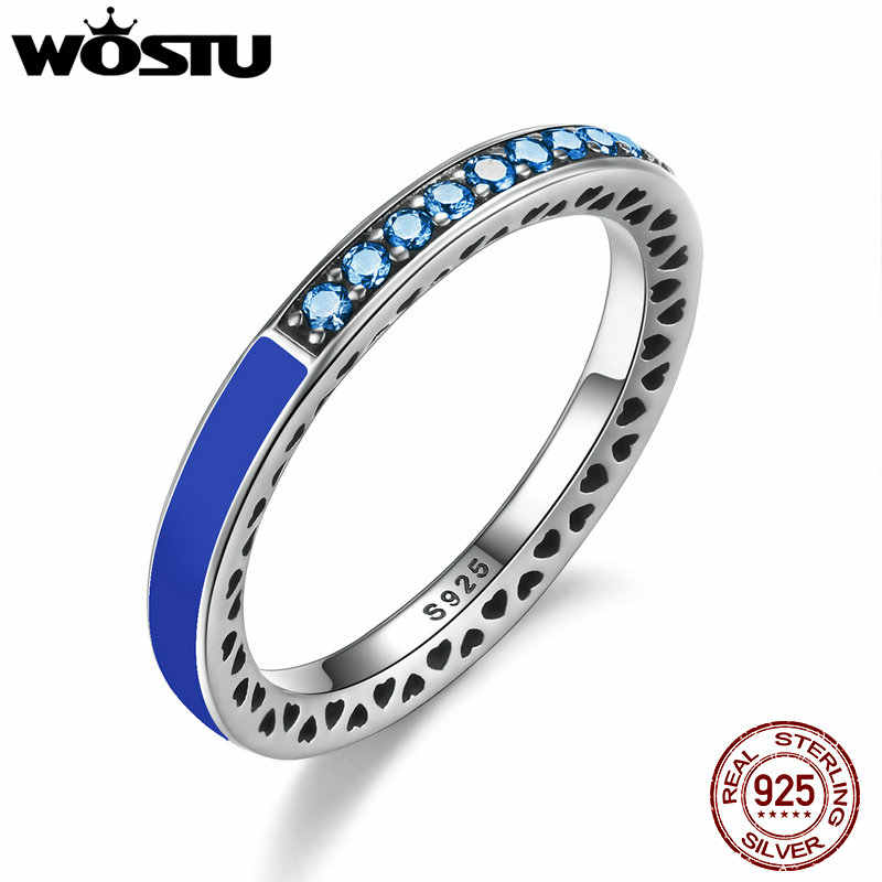 WOSTU Authentic 925 Sterling Silver Radiant Hearts Princess Blue Enamel Engagement Rings For Women Fine Jewelry Ring Gift FB7621