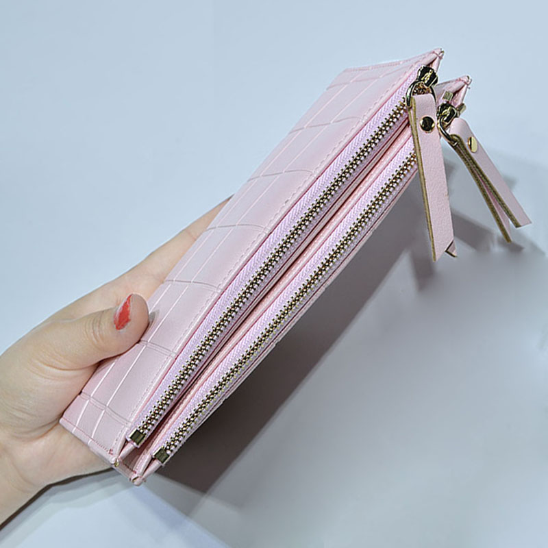 Lee Princess Wallet for Girls Phone With Double Zipper Coin Purse Holders Money Bag Ladies Purse Women Slim Wallets Female 6