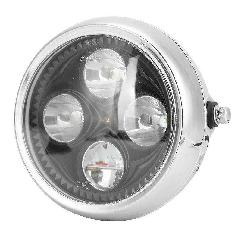 ФОТО Partol 6.5'' Retro Motorcycle Headlight 12V LED Lamp Chopper Bobber Cafe Racer Street Fighter Moto Head Light High Low Beam
