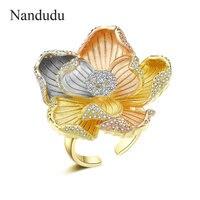 Nandudu New AAA Cubic Zircon Flower Ring for Women 3 Tones Gold Open Cuff Wedding CZ Rings Gift Elegant Jewelry R2079