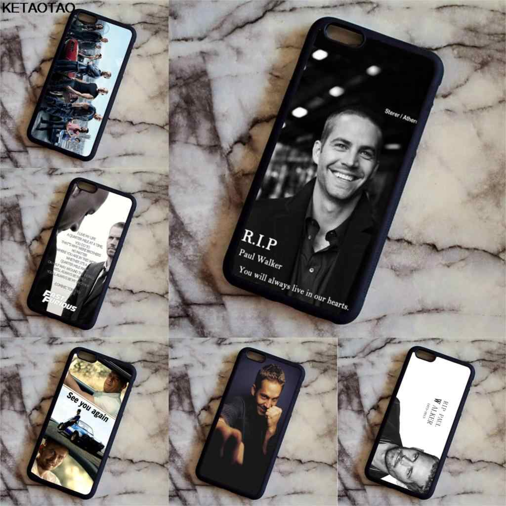 KETAOTAO Paul Walker Fast And Furious Telefoon Gevallen voor iPhone 4 4S 5C 5S 6S 7 8 SE 5Plus XR XS Max Case Soft TPU Rubber Silicone