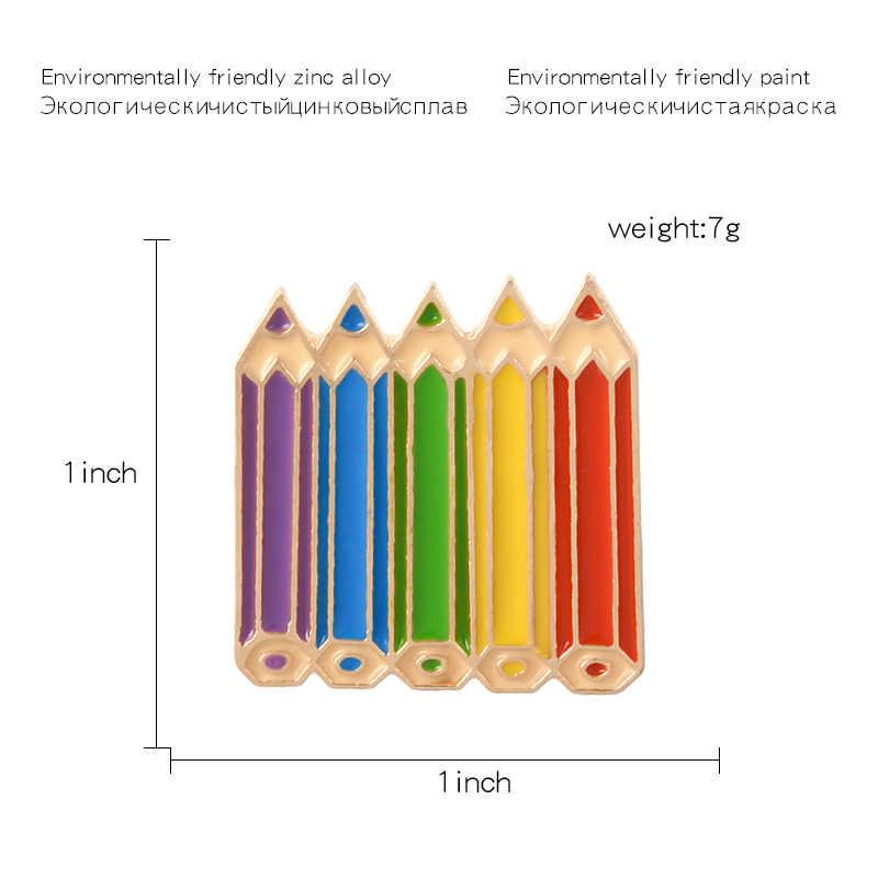 Красочный сон карандаши эмалированная брошь ручка лацкан булавка джинсы рубашка сумка мультфильм детство ювелирные изделия подарок для девочек друзей детей