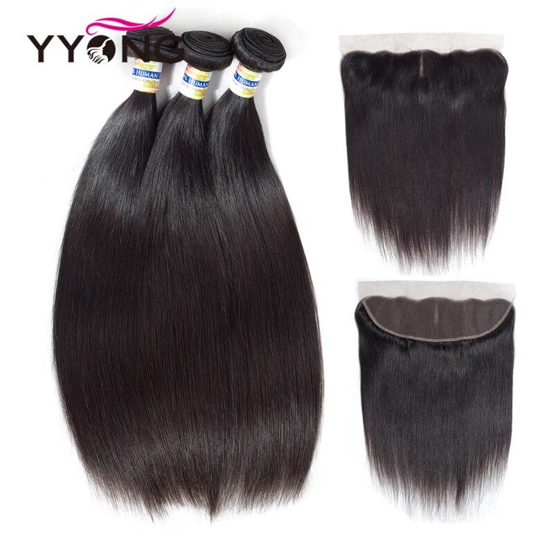 Yyong Hair Peruvian Straight Hair Lace Frontal Closure With Bundles 3Pcs 100% Human Hair Bundle With Free Part Closure