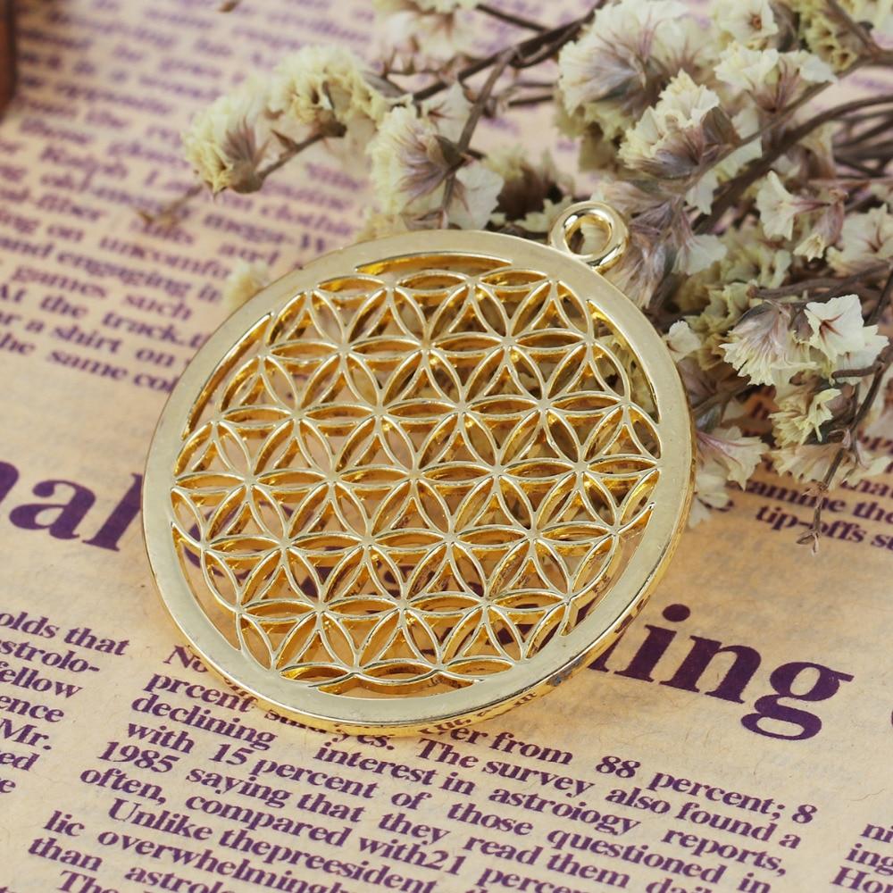 8 saisons bohème fleur de vie pendentifs pendentifs ronds or Rose / - Bijoux fantaisie - Photo 3
