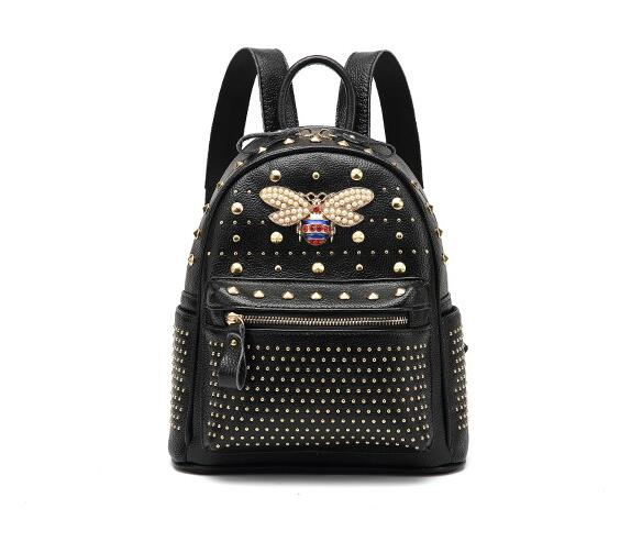 BLACK Genuine Leather Gucci Inspired Women Diamond Bee Backpack Bags Travel Shoulder Bag