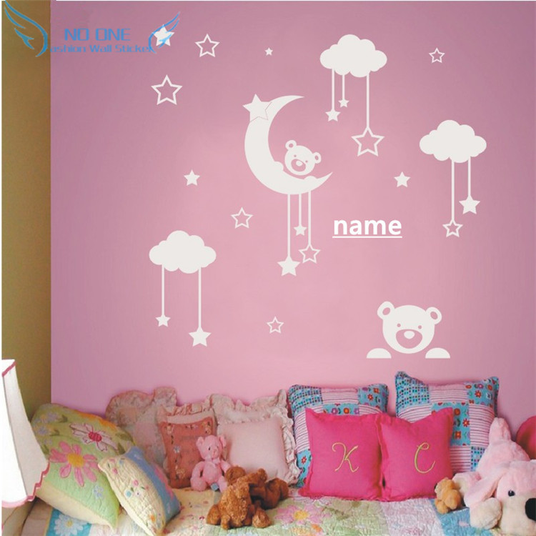 personalized name cute teddy bear, moon, stars wall sticker baby