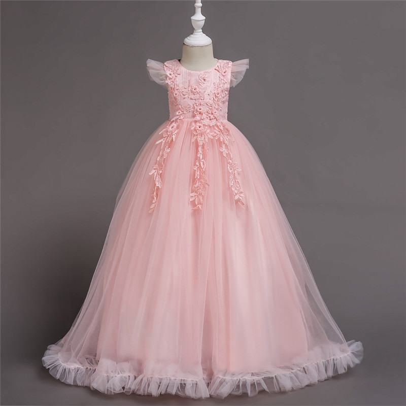 2019 Kds Girl Lace Mesh Pincess Prom Gown Children Wedding Birthday Party Dresses Teen Girl Elegant Beads Pageant Vestido Q43