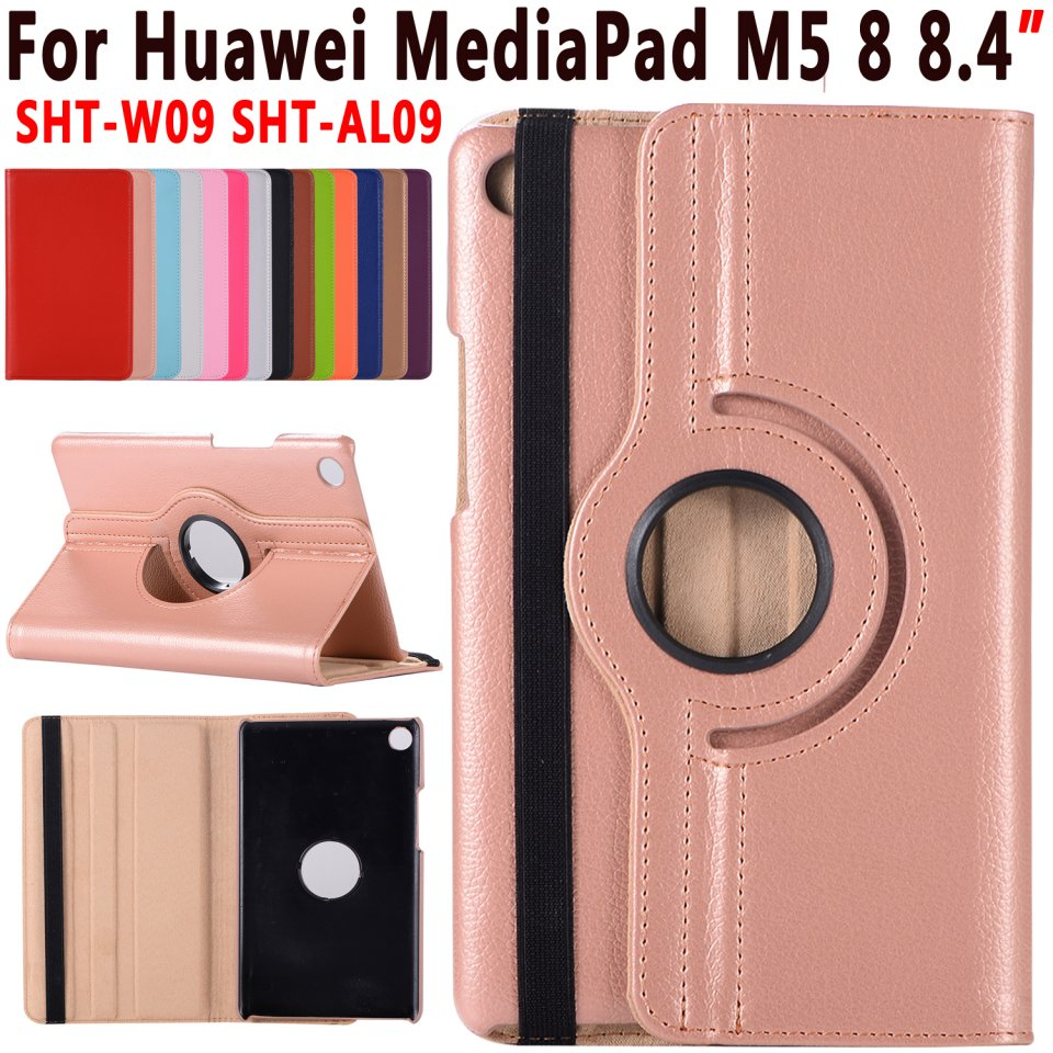 360 Rotatable Leather Cover for Huawei MediaPad M5 8 8.4 inch Case Premium Smart Cover for M5 8 8.4 SHT-W09 SHT-AL09 Case