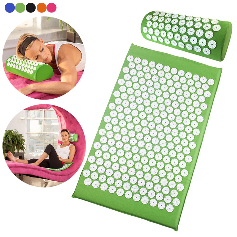 Newly Acupressure Massager Pillow Mat Set Relieve Stress Pain Yoga Mat Natural Relief Stress Body Massage acupressure mat and pillow set massage mat for natural relief of stress pain tension body head back foot massage cushion mat
