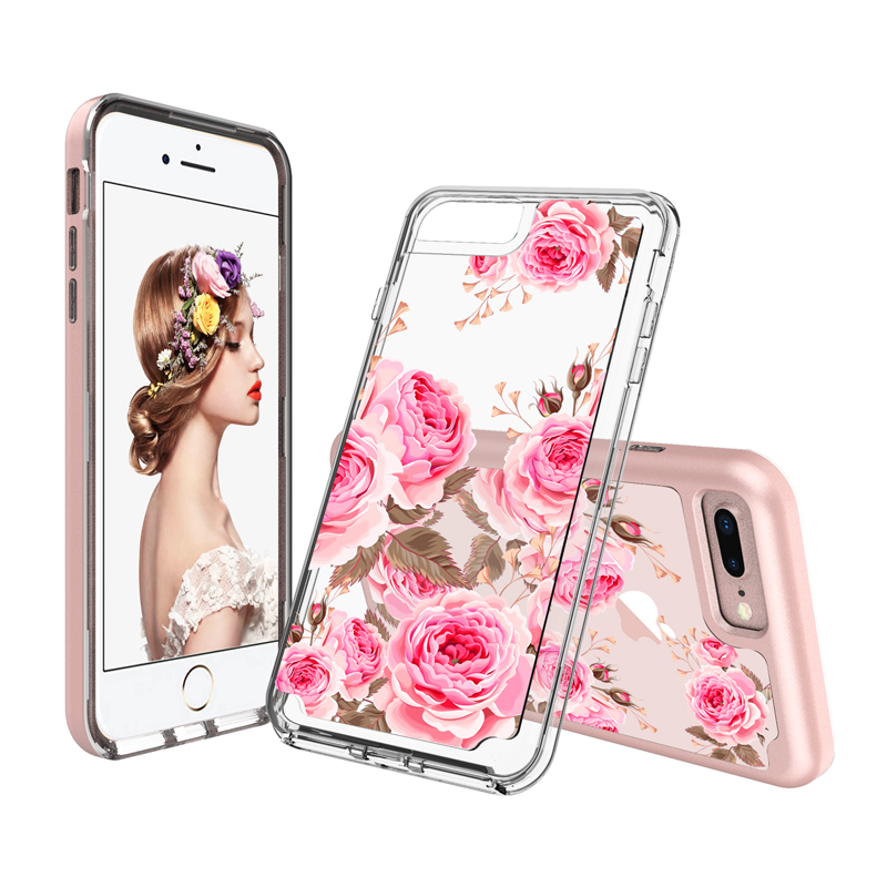 For iPhone 8 8plus rose flower Armor case , Shockproof