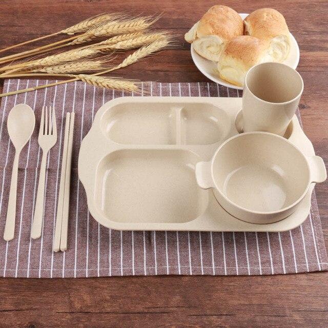 Kinderen Voeden Plaat Set Kids Servies Baby Lade Tarwe Stro Voedsel Container Peuter Gerechten Met Vork Lepel Gebruiksvoorwerpen T0529