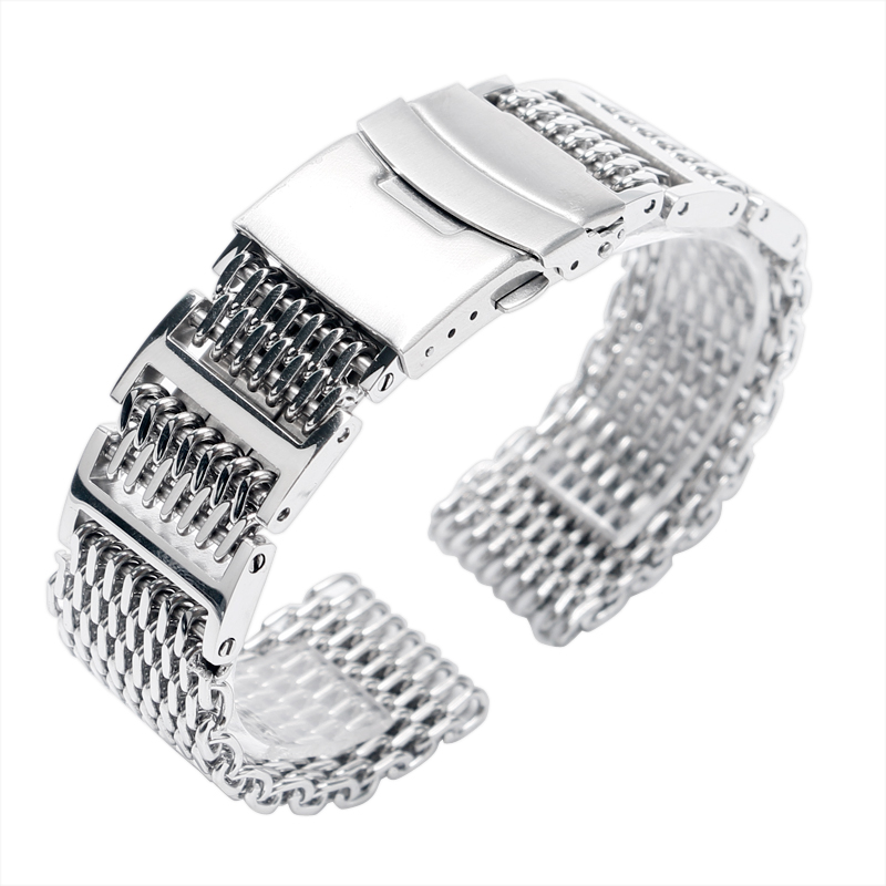 Men Shark Mesh Cool Silver Bracelet Stainless Steel Watch Band Strap Replacement Solid Link 22mm Folding Clasp with Safety 18mm silver stainless steel watch band strap replacement bracelet folding clasp with safety for men women