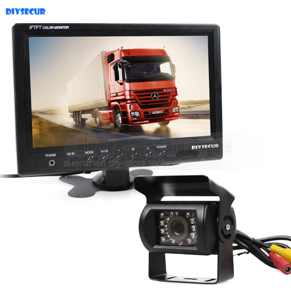 "DIYSECUR Wired 12V 24V DC 9"" Car Monitor Rear View Kit"