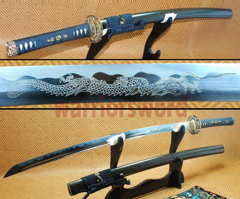 Épée japonaise KATANA pleine lame de Dragon sculpté à la main forgeage pointu avec un support gratuit #304