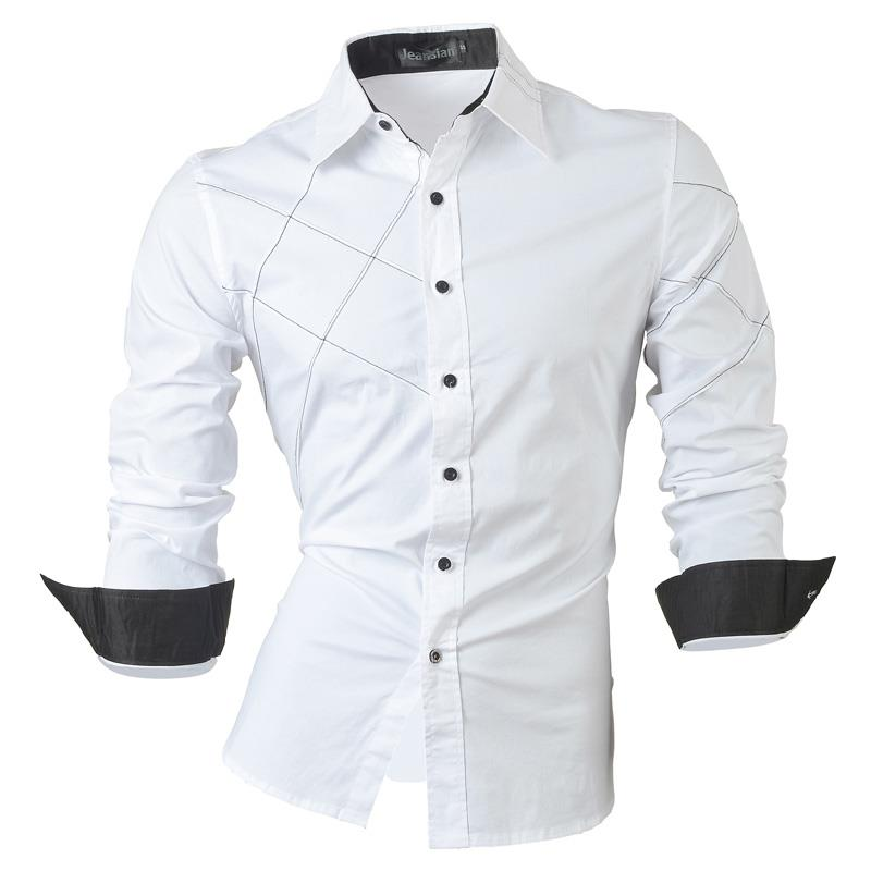 Jeansian Men 39 s Fashion Dress Casual Shirts Button Down Long Sleeve Slim Fit Designer 2028 White in Casual Shirts from Men 39 s Clothing