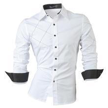 Jeansian Men's Fashion Dress Casual Shirts Button Down Long Sleeve Slim Fit Designer 2028 White long sleeve button down mini shift dress
