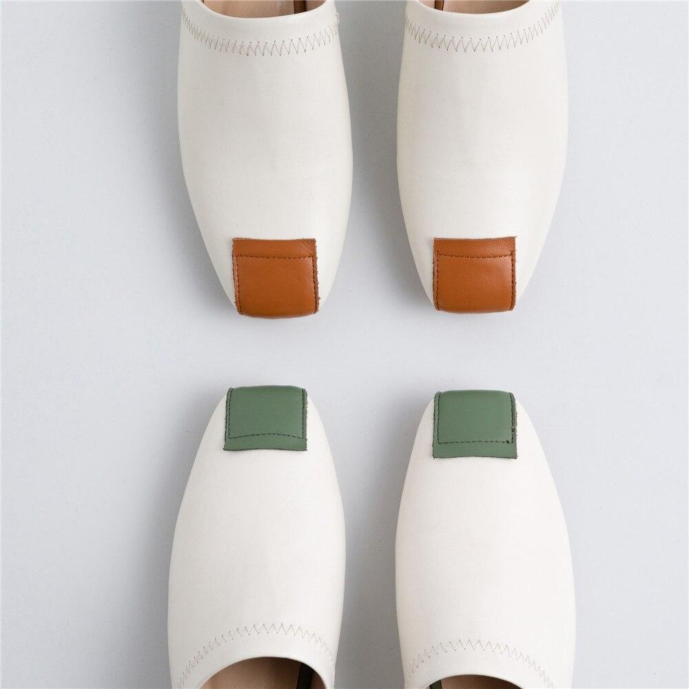 Marque Décontracté Confortables En Femmes Blanc 34 Muyisexi brown Green Pantoufles Véritable Chaussures Mules Cuir Plein 40 Plat Mms06 8dqU8