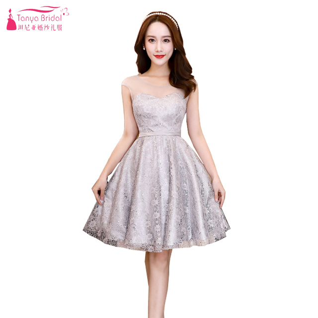 7565cfb0aad Champagne Lace Short Bridesmaid Dresses Cheap Maid Of Honor Gowns African  Special Occasion Dresses in Stock ZB027