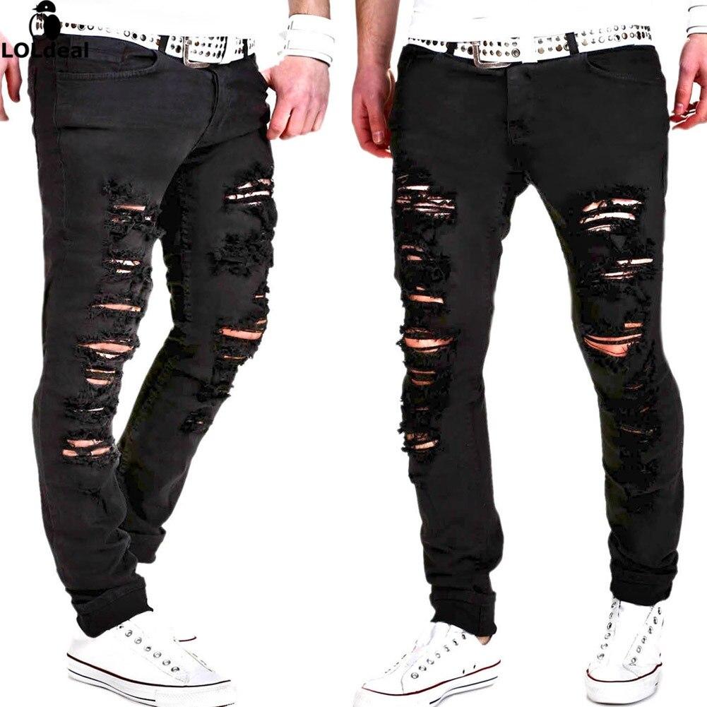 mens casual skinny jeans pants men solid black white. Black Bedroom Furniture Sets. Home Design Ideas