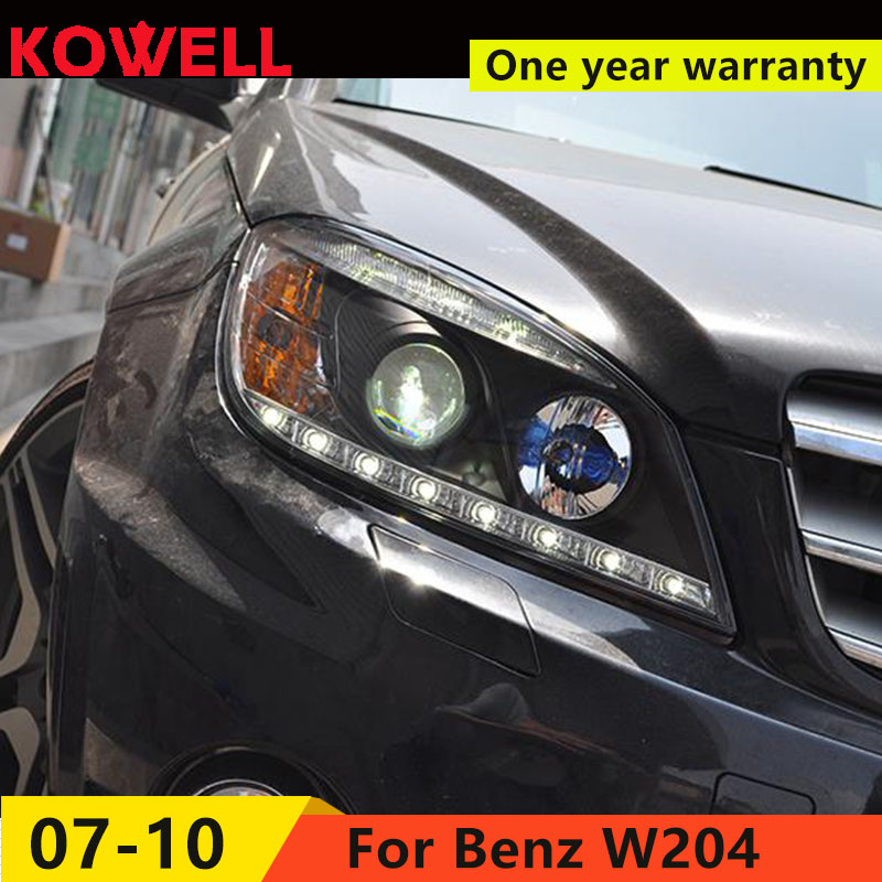 KOWELL Car Styling For W204 C180 <font><b>C200</b></font> C260 Headlights 2007-<font><b>2010</b></font> W204 LED Headlight DRL Lens Double Beam H7 HID bi xenon lens image