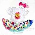 Пасхальное яйцо чик девушка белый боди радуга клевер юбка детское платье NB-18M MAJS0291