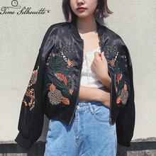 Vintage Floral Embroidery Basic Jacket Coat Women Autumn 201