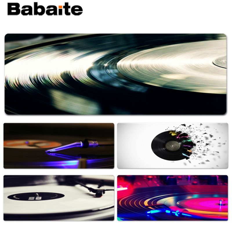 Babaite Cool New Black record Large Mouse pad PC Computer mat Size for 30x70cm 30x90cm Rubber Mousemats