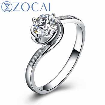 ZOCAI Life IN Rosy Hues La Vie En Ros 0.30 CT Certified I-J / SI Diamond Engagement Ring Round Cut 18K White Gold (Au750) W02893