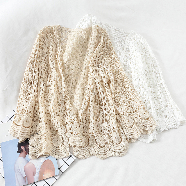 Open Lace Cardigan Crocheted Hollow Out Shrug Female Casual White Flower Floral Open Stitch Women Sweater Loose Knitted Outwear 4